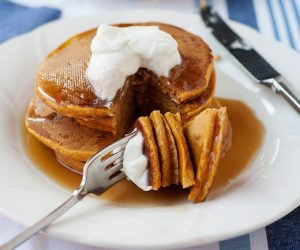 every bite of these pumpkin pancakes will help you savour the flavors of fall. can be made with regular or gluten free flour