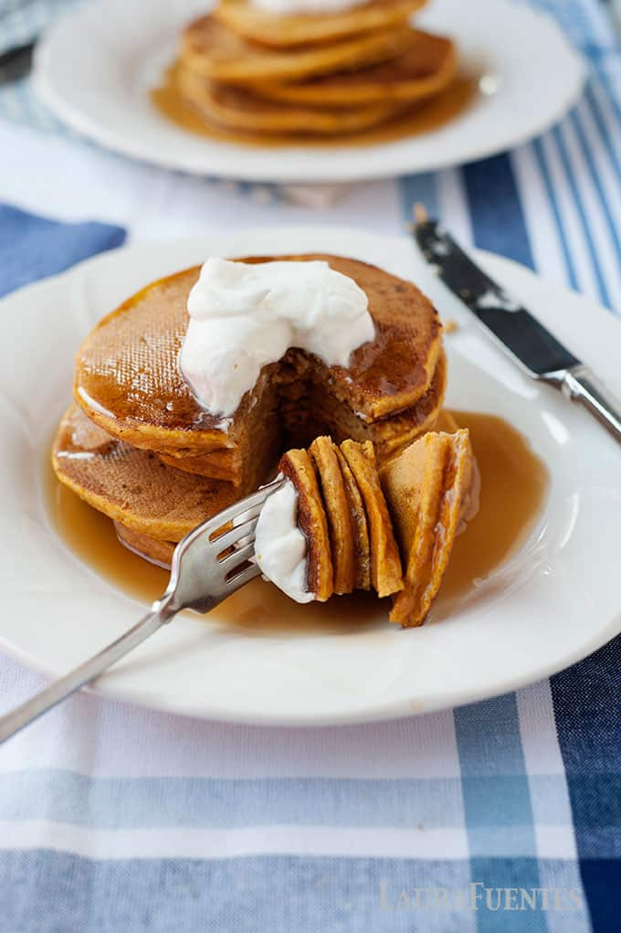 each bite of these pumpkin pancakes will help you savour the flavors of fall. can be made with regular or gluten free flour