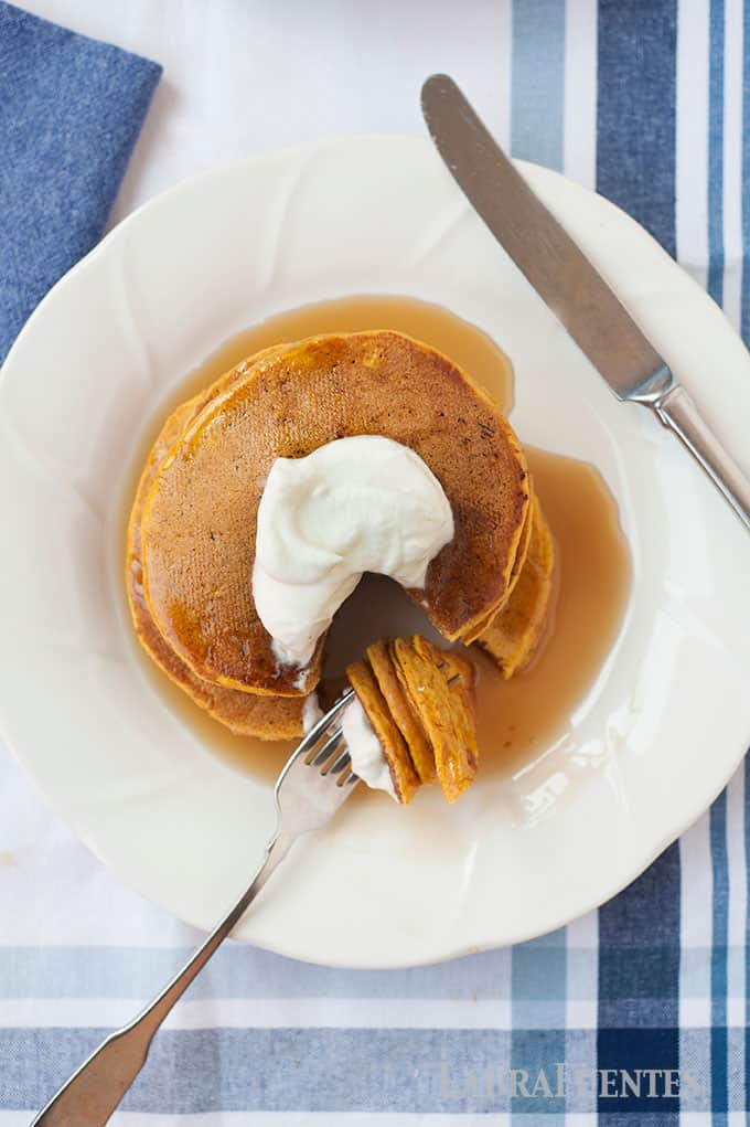 Easy to make pumpkin pancakes with the right amount of fluff! Can be made with whole-wheat, white, or all-purpose gluten free four.
