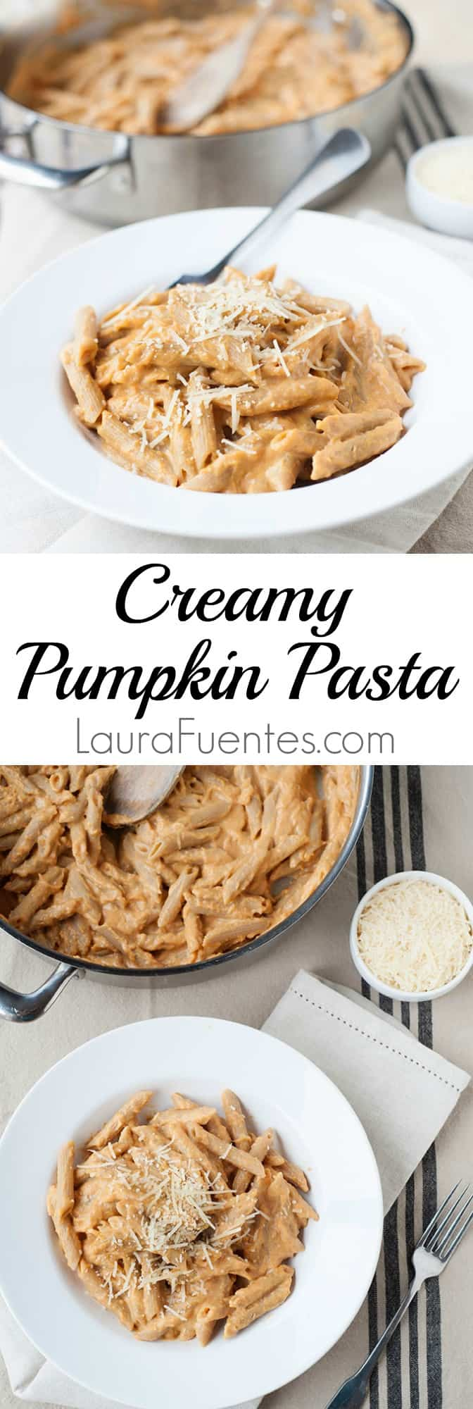 This creamy pumpkin pasta recipe is easy to make and filled with all the classic fall flavors.