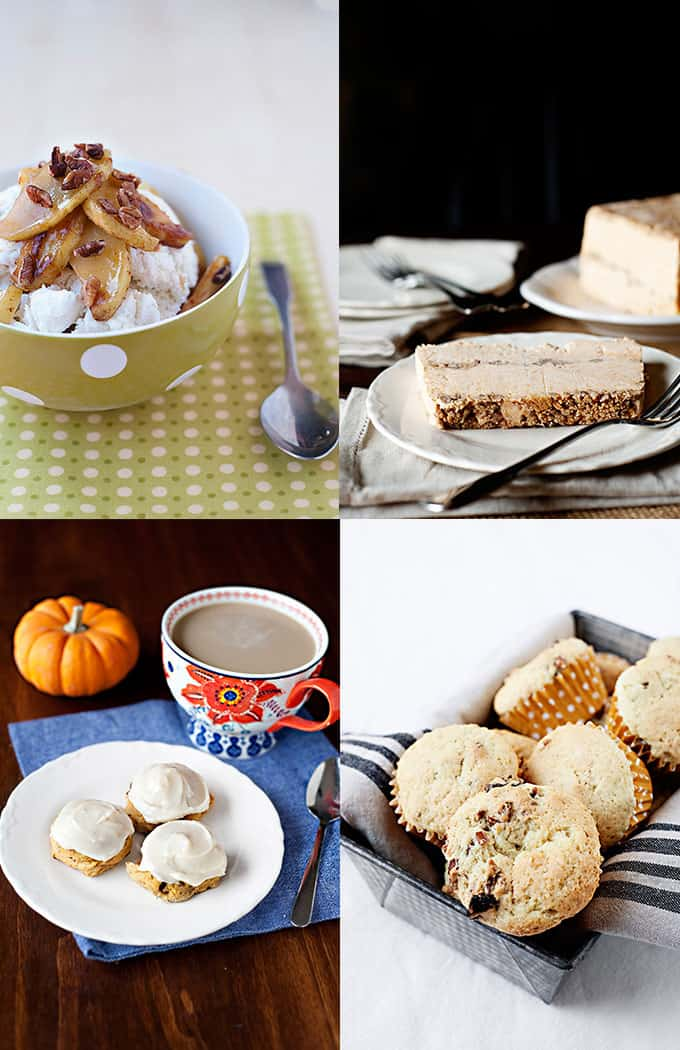 Thanksgiving Dessert Menu: Roasted Cinnamon Vanilla Apples, Frozen Pumpkin Pie, Cinnamon Latte, Cranberry Orange Muffins