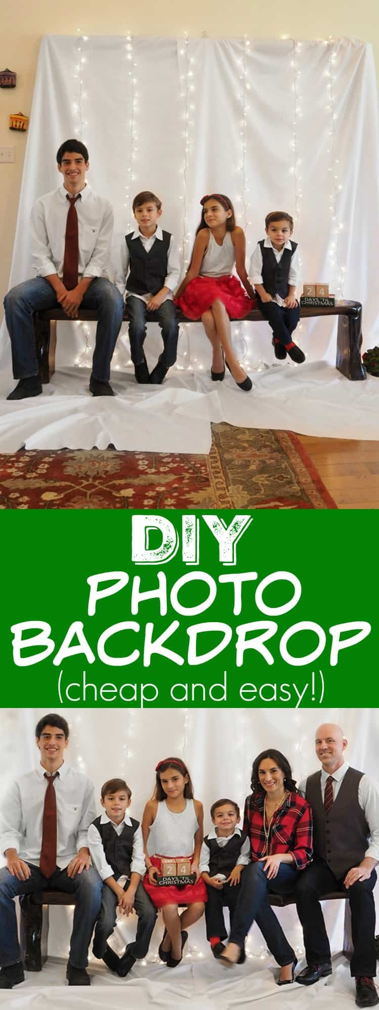 Here is how to turn a living room into a photo studio for your holiday cards and take great pictures without a professional photographer!