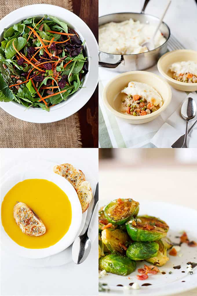 Thanksgiving Menu: Winter Salad with Dijon Maple Dressing, Butternut Squash soup with Crostini, Bacon Caramelized Brussels Sprouts