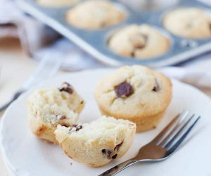 Fluffy and moist chocolate chip pancake muffins that come together quickly. work great with regular or gluten-free all purpose flour