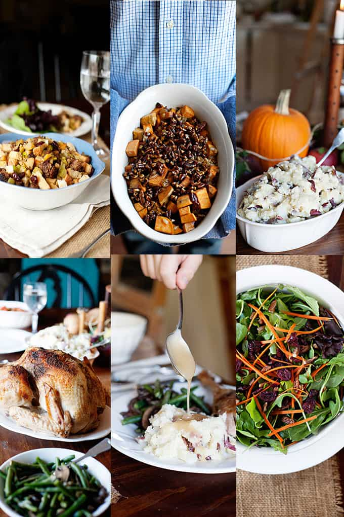 Thanksgiving Menu: Apple Cranberry Stuffing, Maple Glazed Sweet Potato Casserole, Garlic and Parmesan Mashed Potatoes, Perfectly Juicy Turkey, Easy Turkey Gravy, Winter Salad with Maple Dijon Dressing