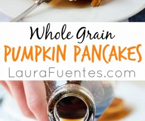 These whole grain pumpkin pancakes are easy to make for breakfast, made with whole grain flour or gluten free flour. This is a delicious healthy breakfast idea!