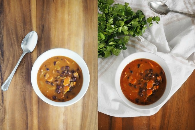 Plain bowl of soup vs. adding a little texture and color. Still not enough but it's an improvement