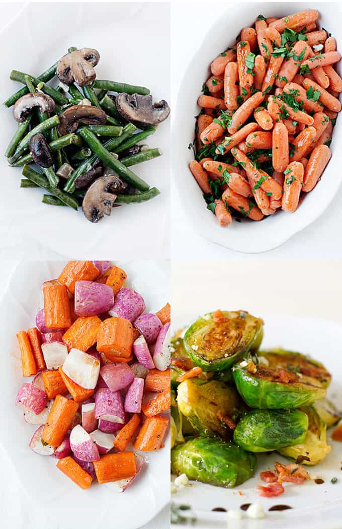Thanksgiving Menu: honey glazed carrots, healthy skillet green bean casserole, roasted root vegetables, caramelized brussels sprouts