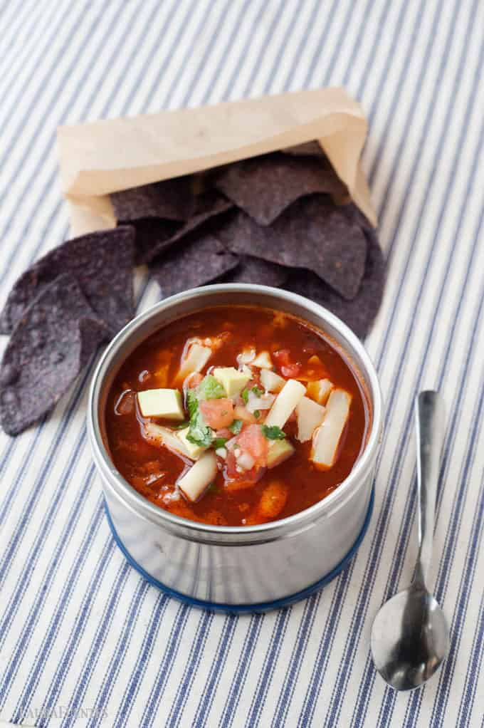 This Healthy vegetarian enchilada soup that is easy to make and is hearty and filled with rich smoky flavors. This healthy version has minimal calories compared with the traditional Mexican dish! It makes a terrific thermos lunch!