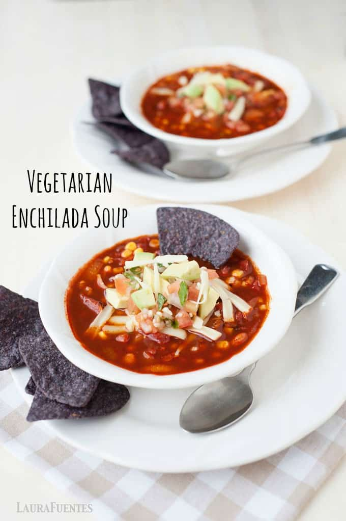 Healthy vegetarian enchilada soup recipe that is hearty and filled with rich smoky flavors. This healthy version has minimal calories compared with the traditional Mexican dish!