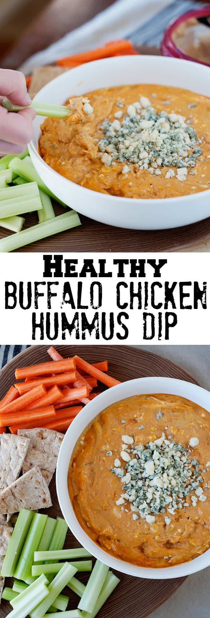Buffalo Chicken Hummus Dip - This buffalo chicken dip recipe is unlike anything you've had before. It's the perfect gameday recipe and one your family and friends will ask you for the recipe!