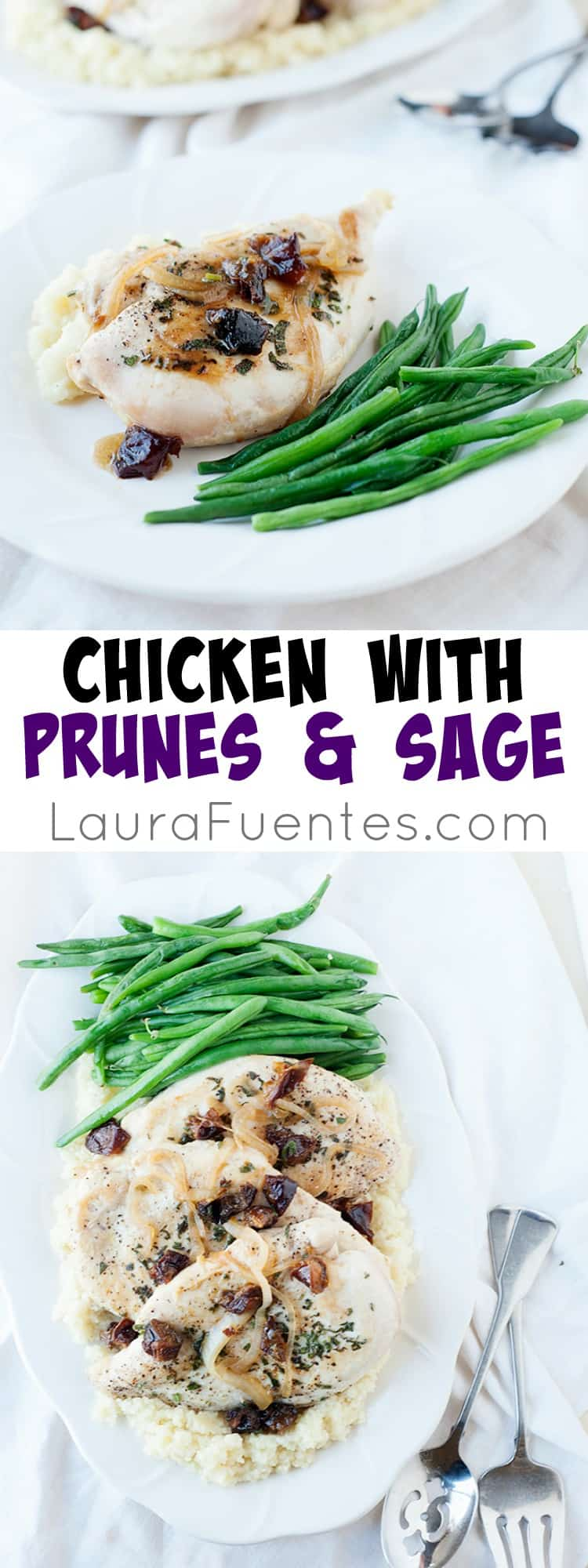 Chicken with Prunes and Sage- Savory dinner for two that is healthy, easy and delicious.