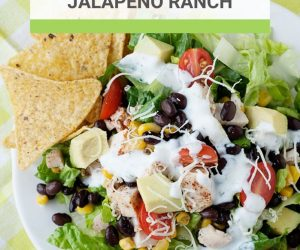 Image: plate of salad with black beans, corn, chicken, and Ranch dressing