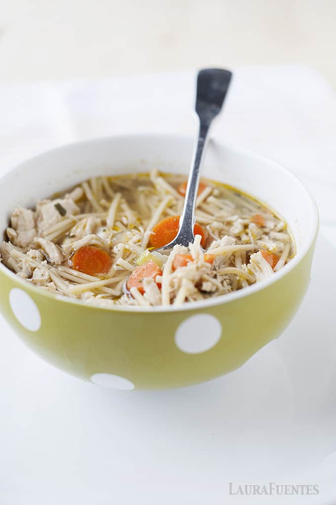 Crockpot Chicken Noodle Soup: Warm up with this easy and delicious homemade chicken noodle soup.