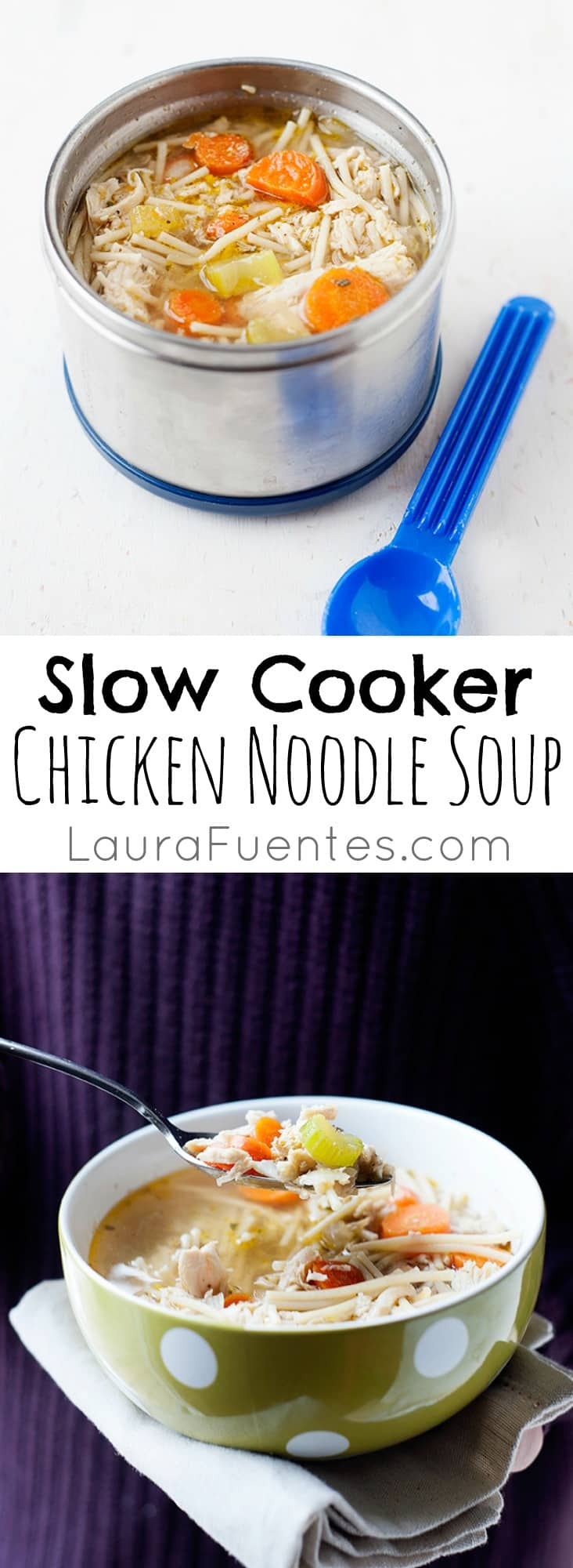 Warm up with this easy and delicious chicken noodle soup made in the Crockpot!