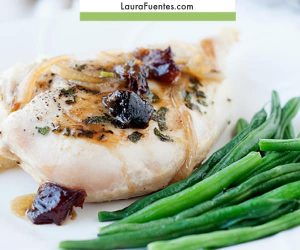 Chicken with savory plums and sage