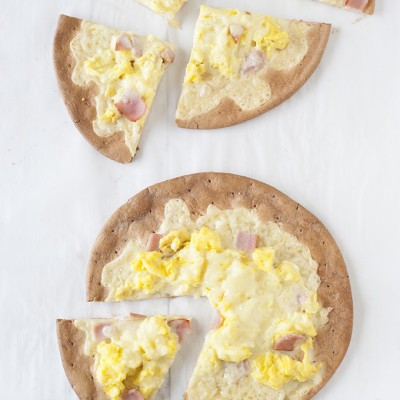 Ham, Egg, & Cheese Breakfast Pizzas