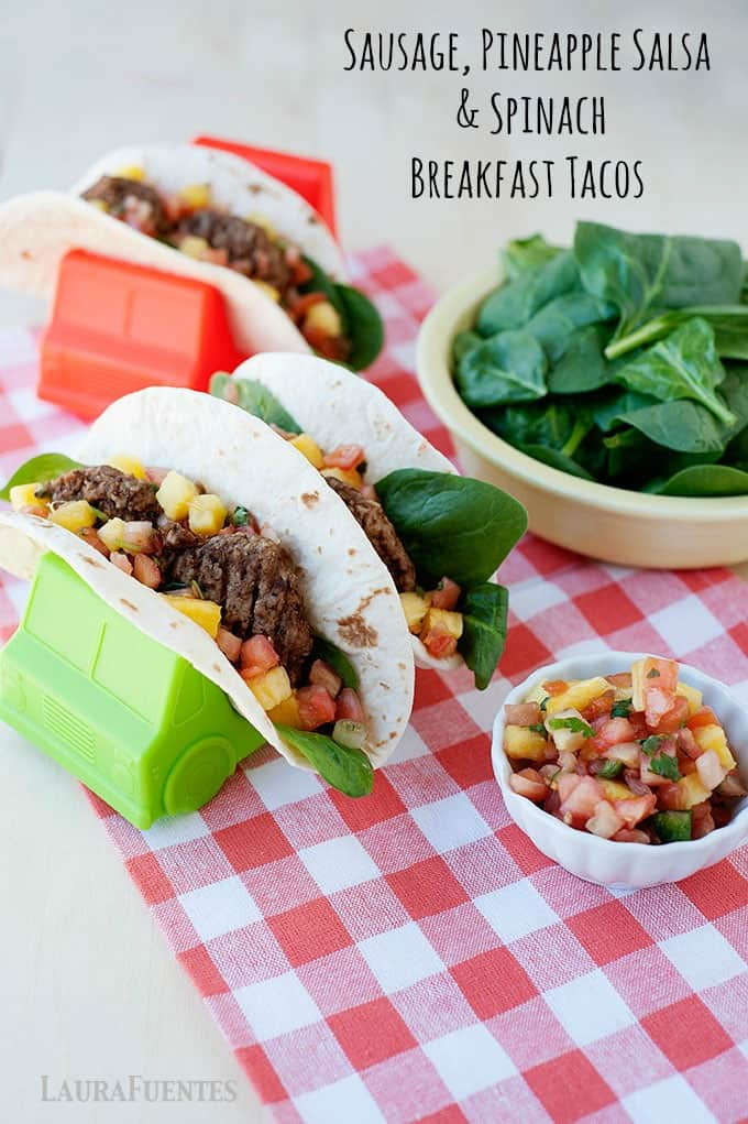 Delicious breakfast tacos with turkey sausage, fresh pineapple salsa, and spinach that only take 45 seconds to make! A super delicious quick breakfast idea.