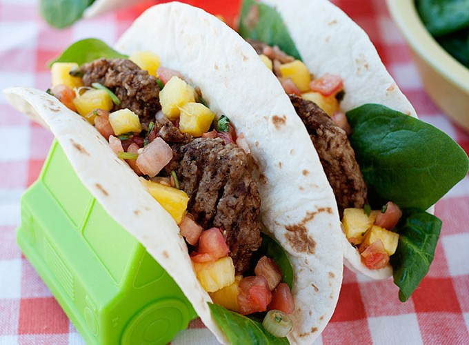 Breakfast Tacos with Sausage, Pineapple Salsa & Spinach