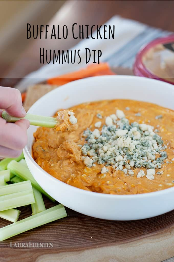 Buffalo Chicken Hummus Dip - This buffalo chicken dip recipe is unlike anything you've seen before. It's the perfect gameday recipe and one your family and friends will ask you for the recipe!
