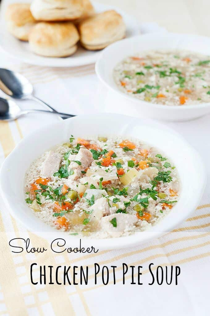 Chicken Pot Pie Soup - Easy and delicious comfort food made right in your slow cooker.
