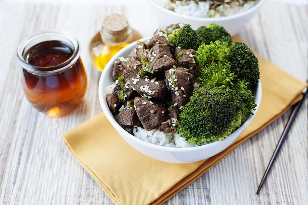 Asian Beef and Broccoli Bowls: easy recipe made with honey for extra sweetness.