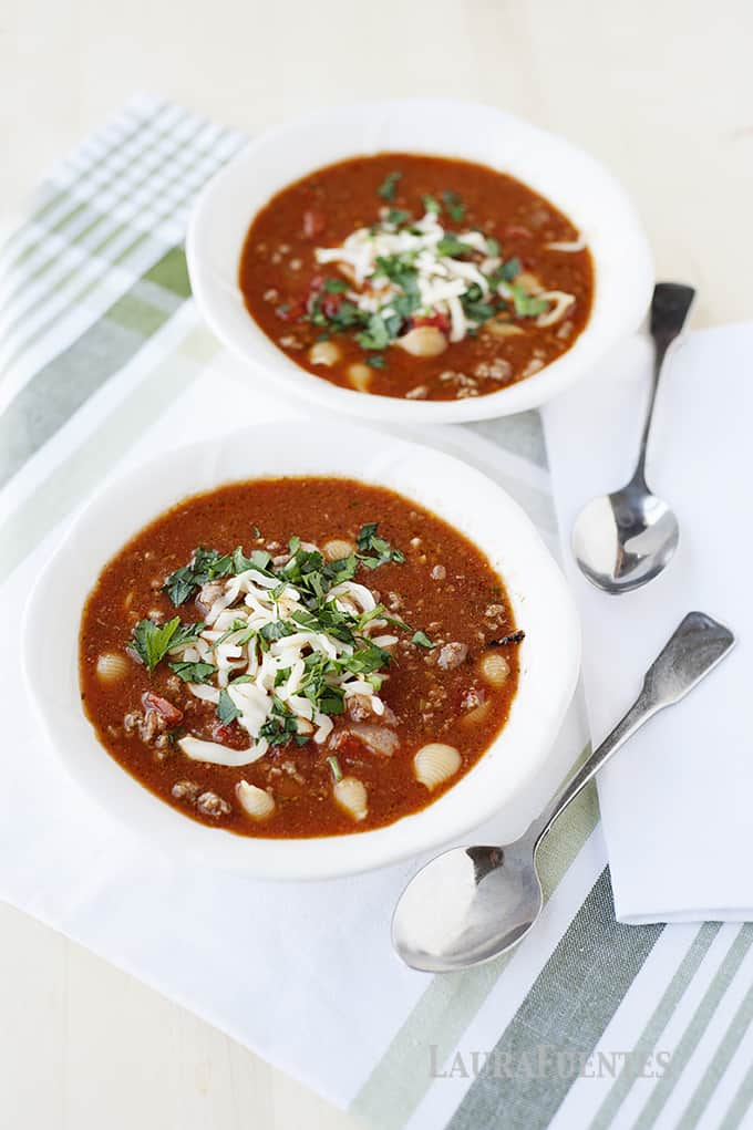 image: two large white bowls of lasagna soup
