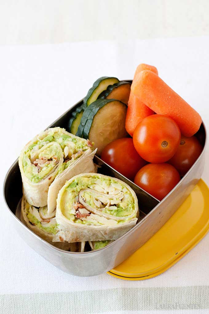 avocado pinwheels in a lunch container
