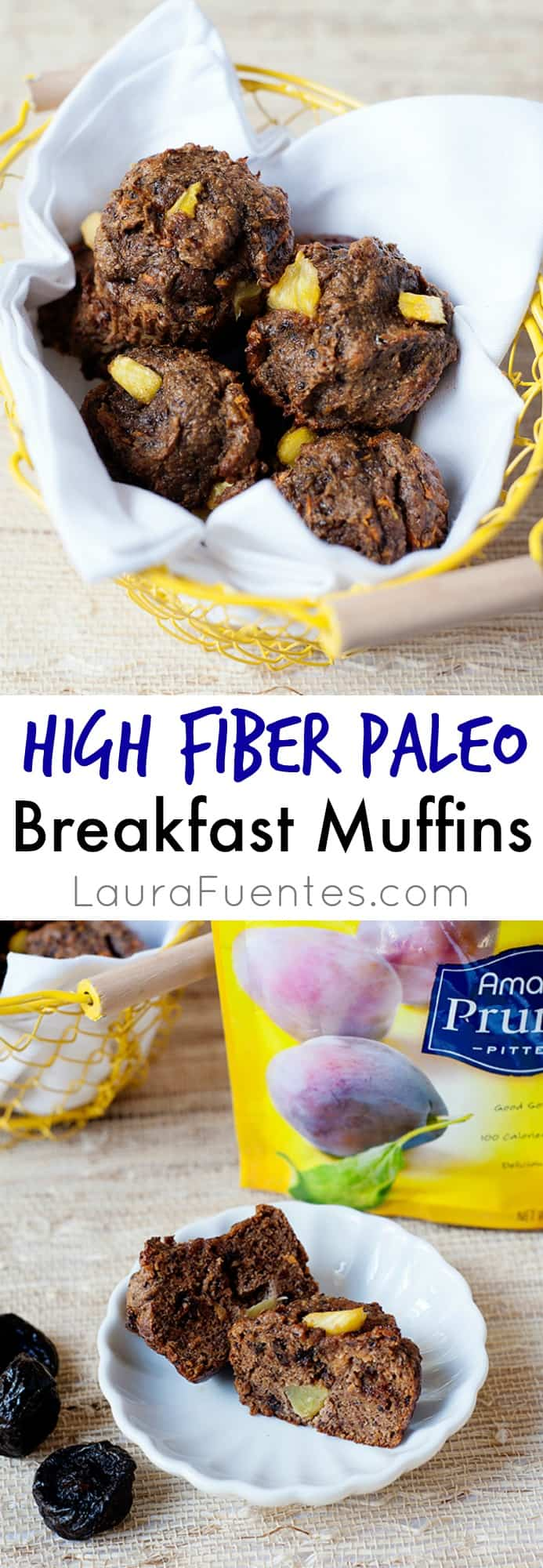 High Fiber Paleo Breakfast Muffins: If you've been searching for a tasty way to add more fiber to your diet without adding more grains, you are going to love this sweet, moist, and delicious recipe.