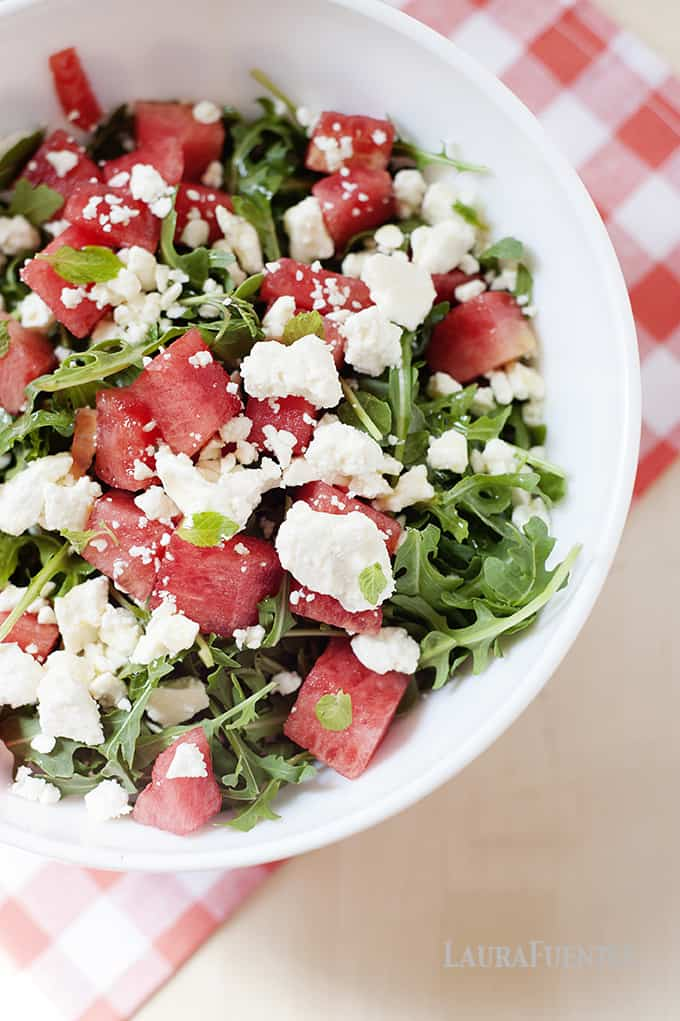 Watermelon Feta Salad - A cool refreshing salad that's perfect for Mother's Day and looks great in these Vintage Pyrex Bowls