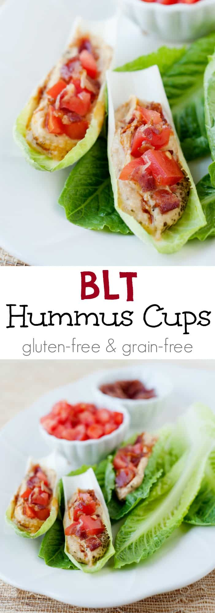 Reinvent the BLT with these bacon, lettuce, and tomato hummus cups! They make the perfect lunch or healthy snack.