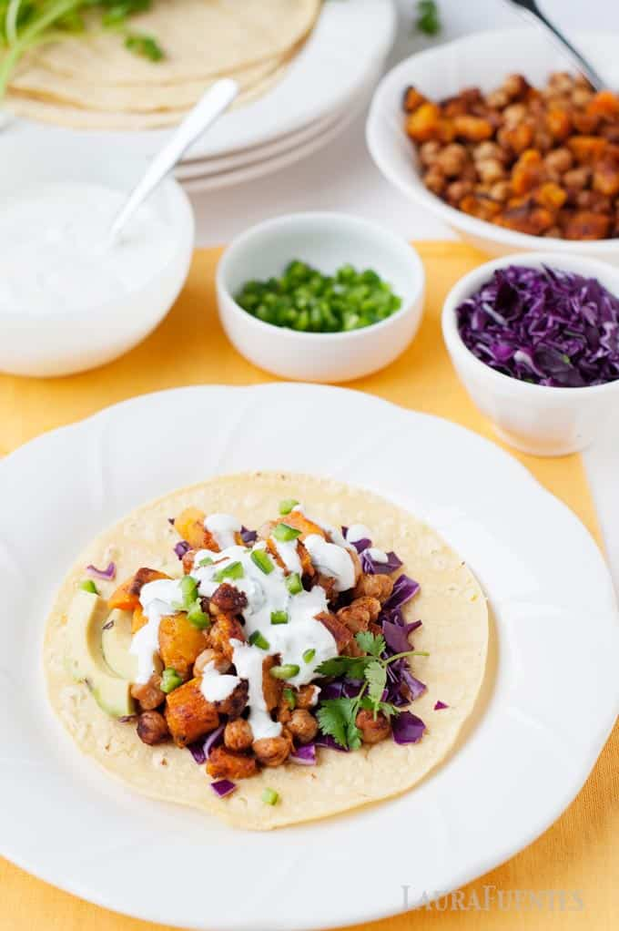 vegetarian chickpea and butternut squash tacos