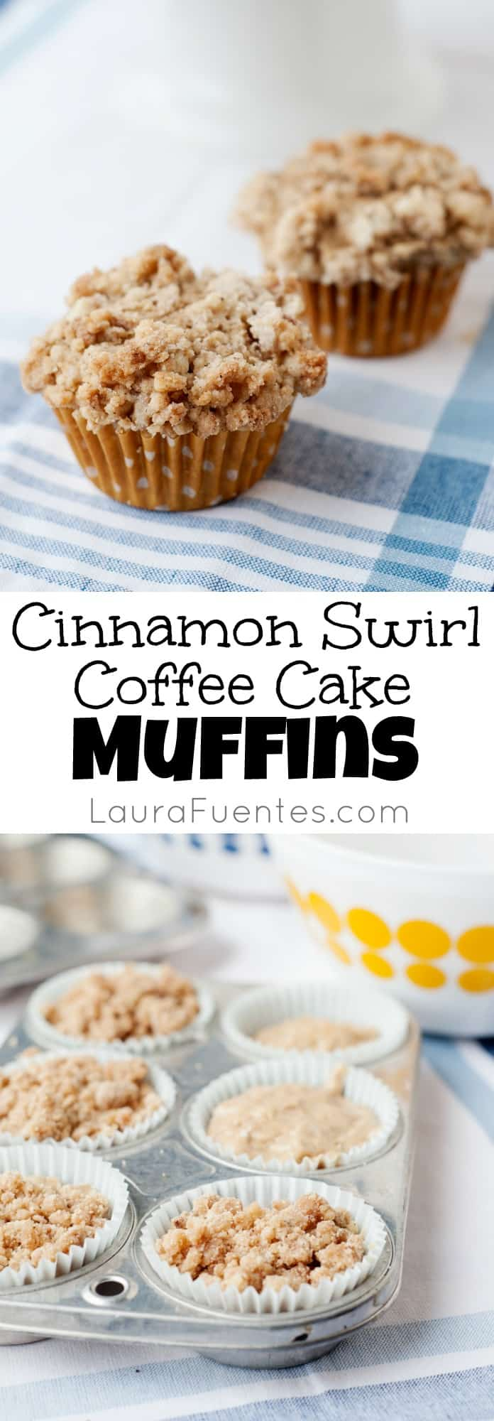 Cinnamon Swirl Coffee Cake Muffins- Make these delicious cafe inspired muffins right at home with your kids! They not only look delicious but your whole house will smell amazing and full of sweet cinnamon.