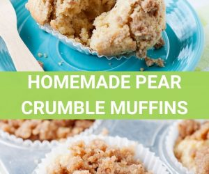 Image: Pear crumble muffins on a blue plate