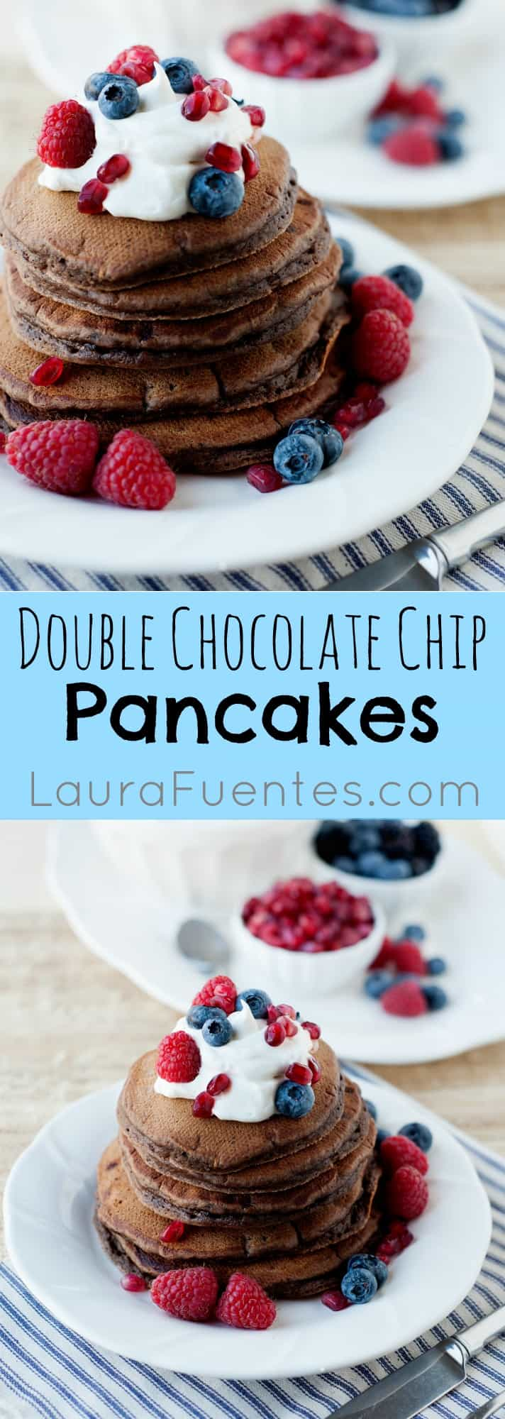 Double Chocolate Chip Pancakes: The perfect treat for my daughter's birthday breakfast. Chocolate and pancakes; You cannot go wrong with this recipe!