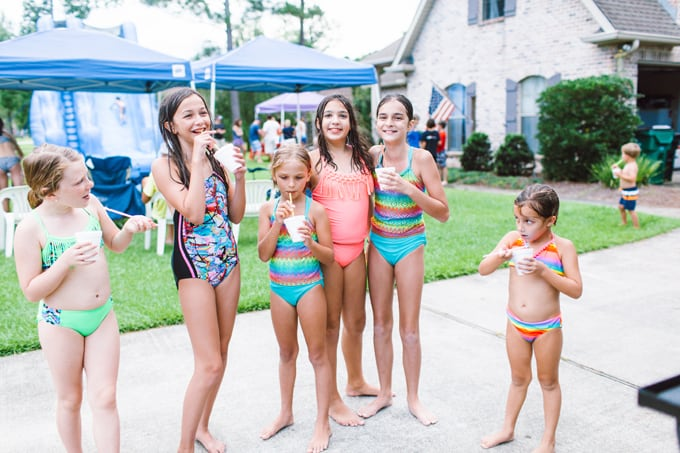 Summertime Fun! Snowballs and waterslide party for family and friends.