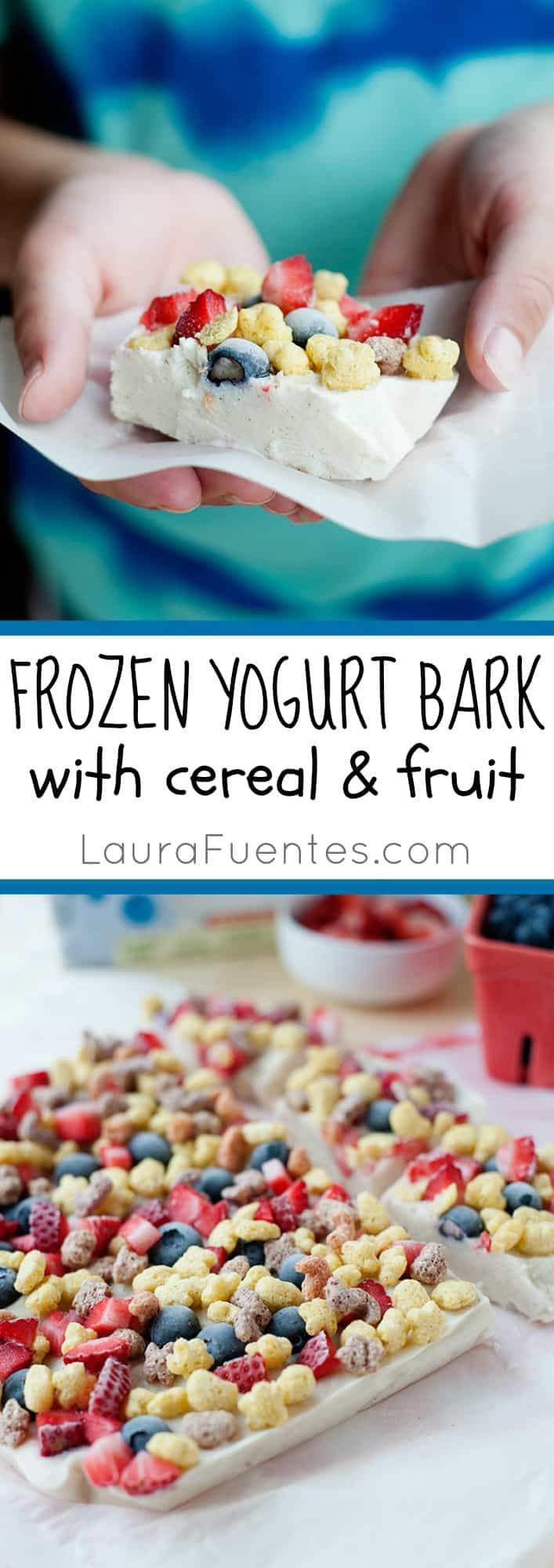 Frozen Yogurt Bark with Cereal and Fruit: the perfect cool snack on a hot day and after school! Quick and easy to make, and it's great to keep in the freezer.