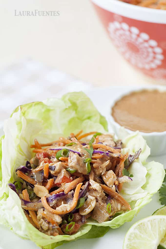 Slow Cooker Thai Chicken Lettuce Cups with Peanut Sauce