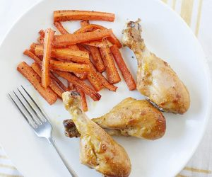 Honey Chicken Drumsticks with Carrot Fries: Easy Dinner that makes everyone happy!
