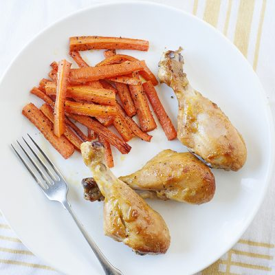 Honey Chicken Drumsticks with Carrot Fries