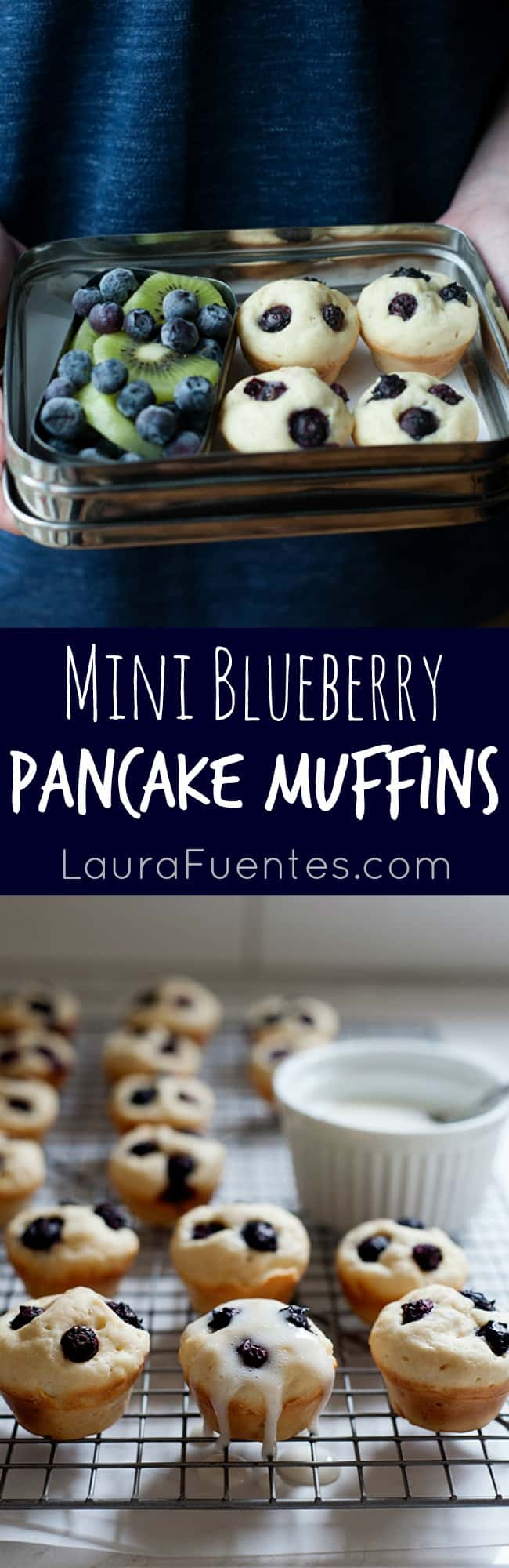 Blueberry Pancake Bites. What's better than pancakes? Bite sized mini pancakes that are full of blueberries in every bite!