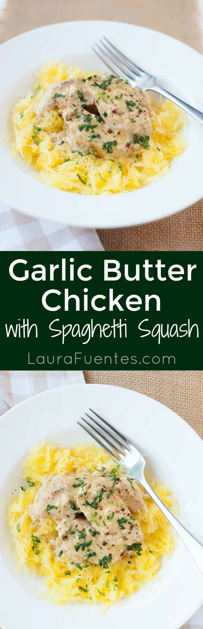 Delicious Garlic Butter Spaghetti Squash with Chicken! Perfect for family dinner.