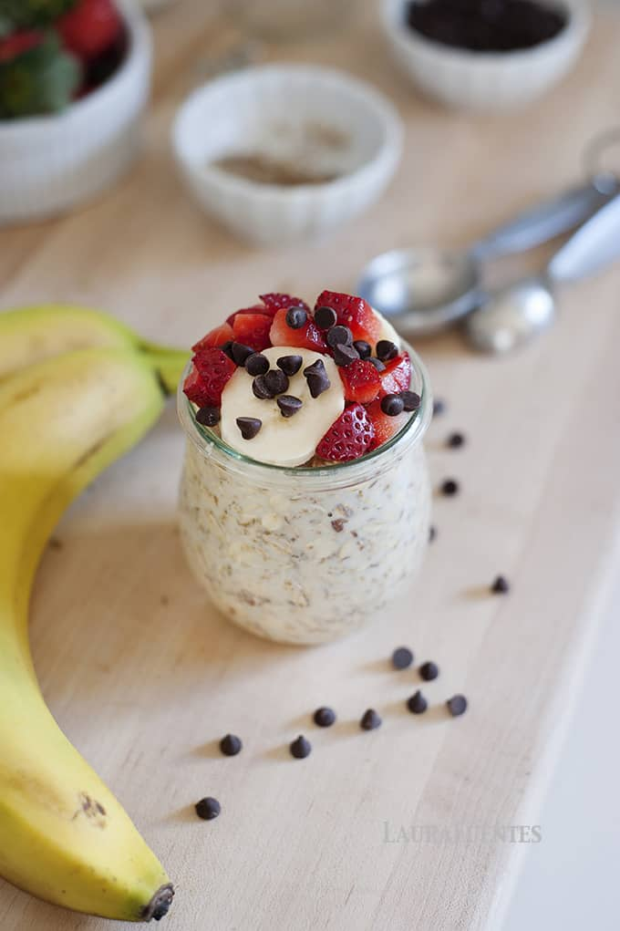 Banana Split Overnight Oats- Simply delicious and ready to eat when you wake up for breakfast!