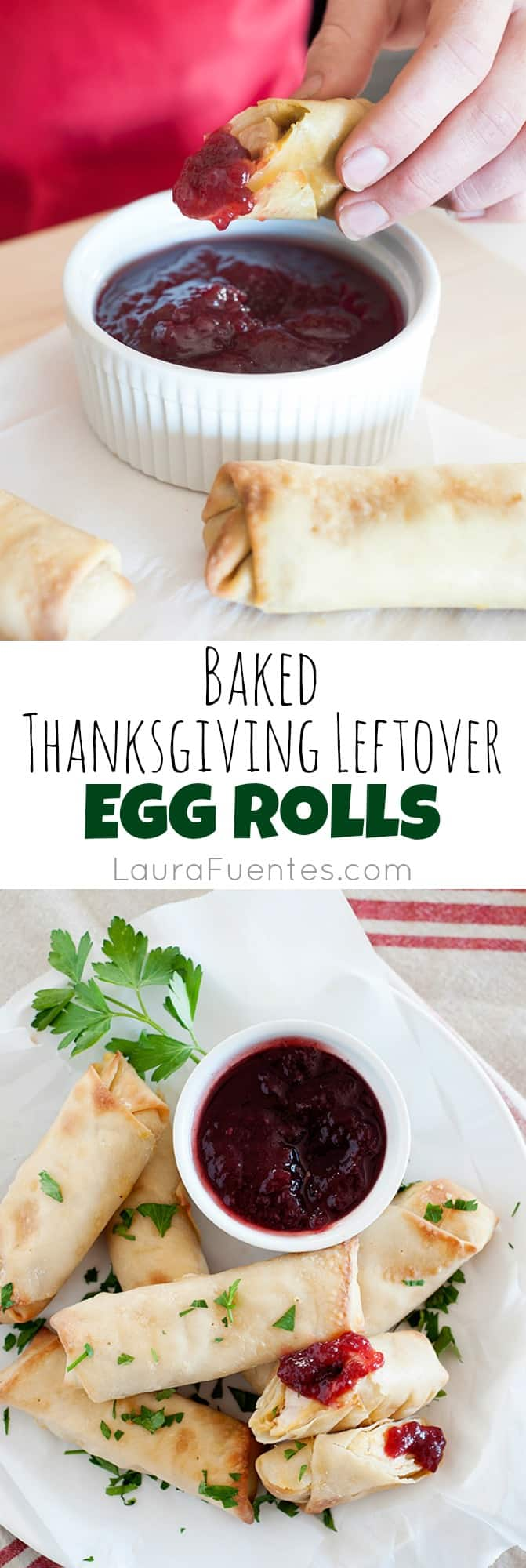 Thanksgiving Leftover Egg Rolls: Delicious and easy to make snack or appetizer with your favorite leftovers from Thanksgiving!