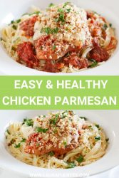 Image: slow cooker parmesan chicken over pasta in a white bowl.