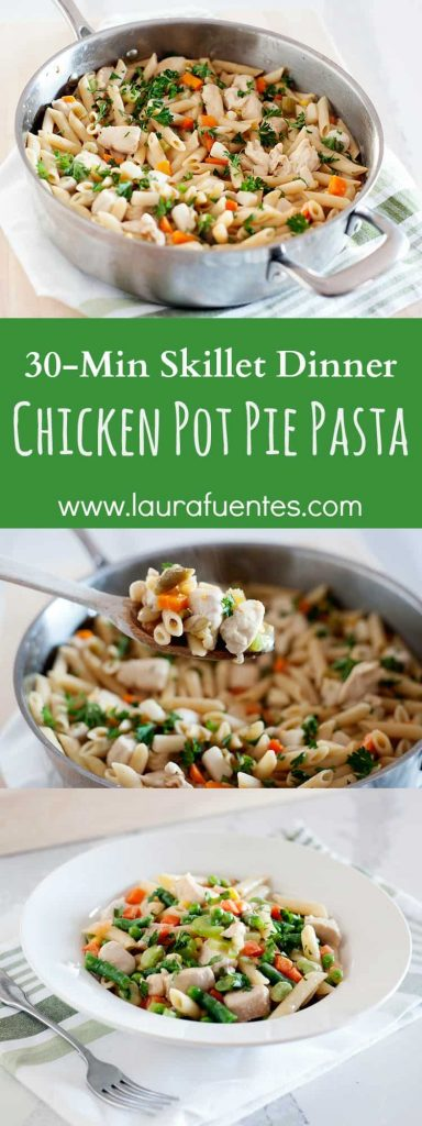 If you love chicken pot pie but never have time to make it, this recipe is for you! Skillet meal, made in less than 30 minutes and full of veggies!
