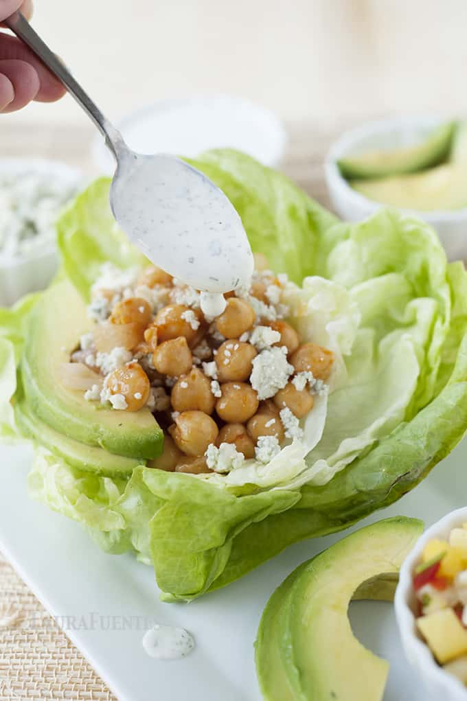 Buffalo Chickpea Lettuce Cups: Quick and easy dinner idea that comes together in less than 30 minutes.