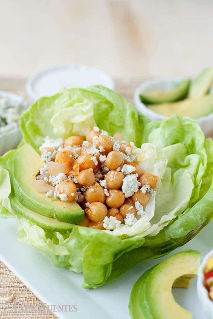 roasted chickpeas and sliced avocados in lettuce wraps