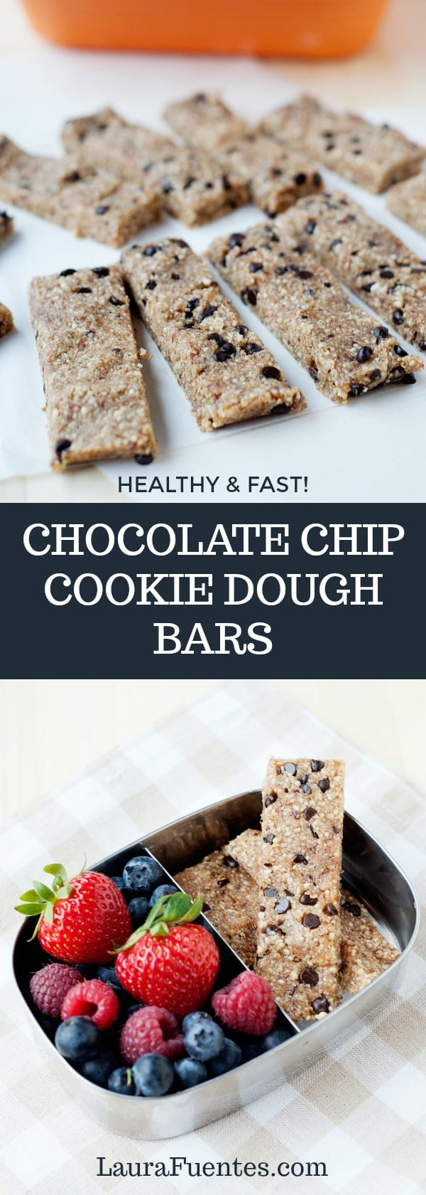 Easy to make and deliciously healthy chocolate chip cookie dough bars recipe