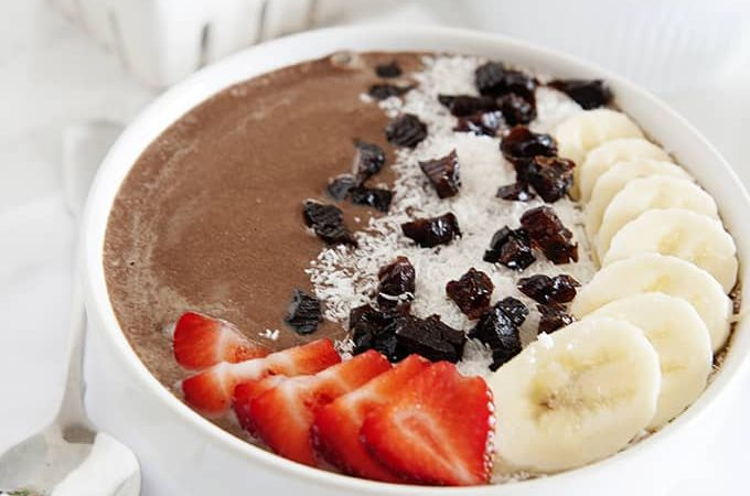 High Fiber and Protein Chocolate Smoothie Bowl